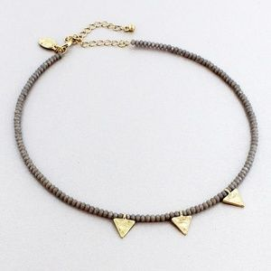 Gray Beaded Choker With Triangle Charms